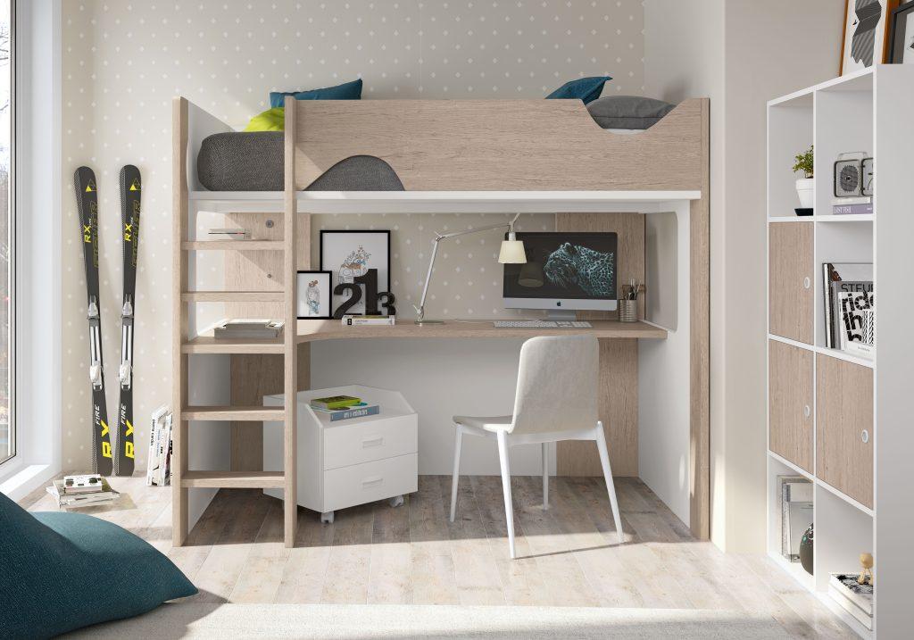 Dormitorio juvenil con literas tren Mercado del Mueble Vivarea Pinto